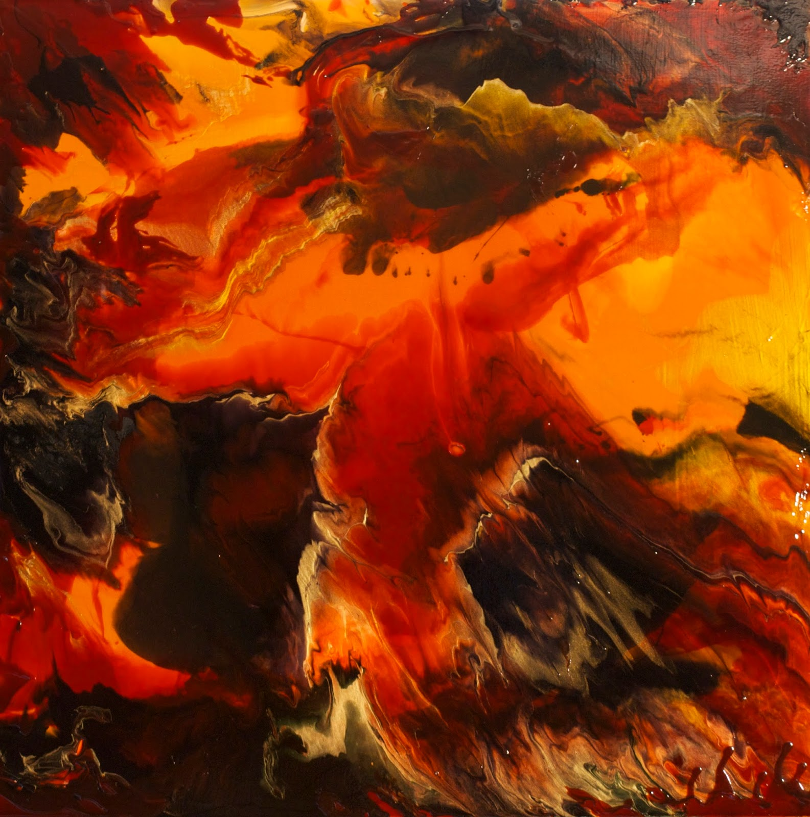Big flow acrylic pour painting in warm hues copyright 2014 by linda ryan