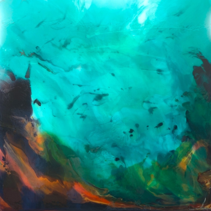 contemporary, abstracted underwater painting, blues and oranges, by Linda Ryan